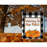 Buffalo Plaid Burlap Pumpkin Garden Flag