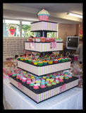 Colorful 4 Tier Medium/Large Cupcake Stand