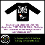 Christmas baby! Pregnant skeleton iron on decal with Santa hat
