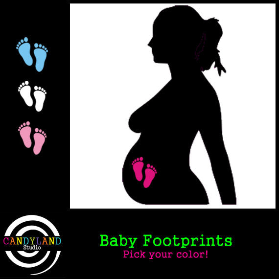 Baby footprints - gender reveal iron on decals