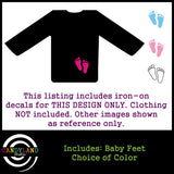 Make your own gender reveal shirt with baby footprint iron on decals