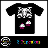 DIY Halloween costume - X-ray skeleton cupcakes iron on