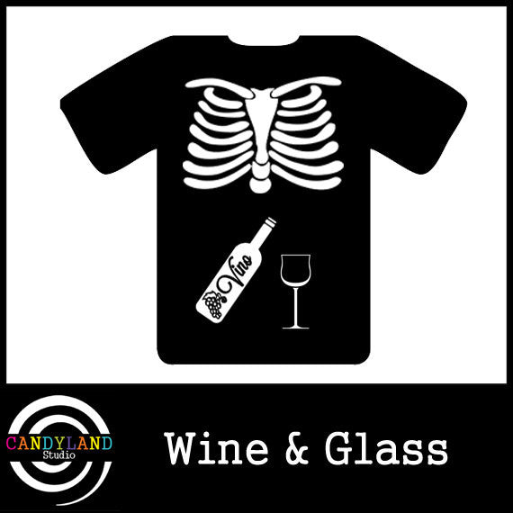 DIY Halloween costume - X-ray skeleton wine and glass