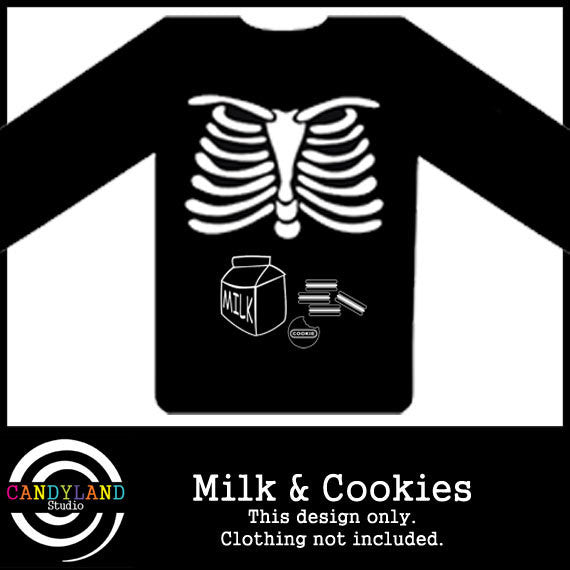 DIY Halloween costume - X-ray skeleton milk & cookies iron on