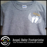 Gender neutral angel baby iron on footprints for miscarriage awareness