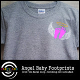 Angel baby iron on footprints for miscarriage awareness