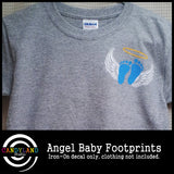 Blue angel baby iron on footprints for miscarriage awareness