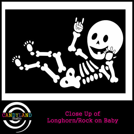 Rock on Longhorns baby skeleton iron on decal