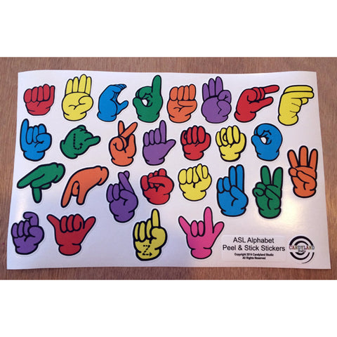 American Sign Language Fingerspelling Stickers