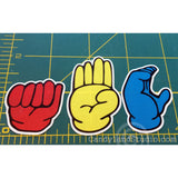 Learn to sign with fun restickable fingerspelling stickers