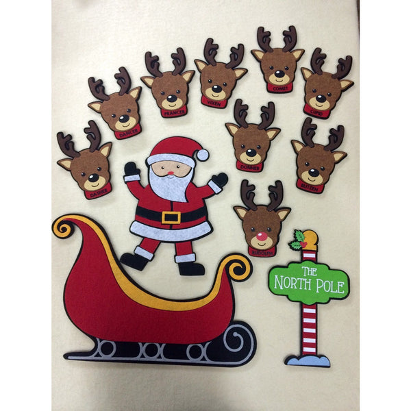 Santa Sleigh & Reindeer Christmas Felt Set with North Pole Sign