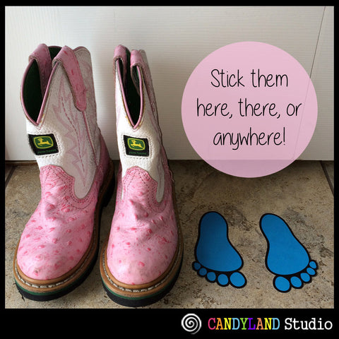 Use peel & stick footprints for fun pregnancy announcement