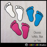 Peel & stick footprints come in 3 colors - pink, blue, white