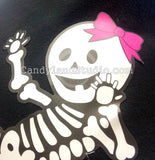 Pink Hair Bow Sticker on Baby Skeleton