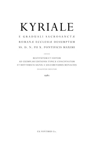 Kyriale Romanum (Extraordinary Form, Latin Edition)