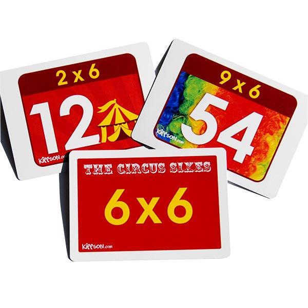 times tables flash cards with pictures and images 6x
