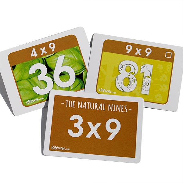 multiplication flash cards with colour and picture 9x