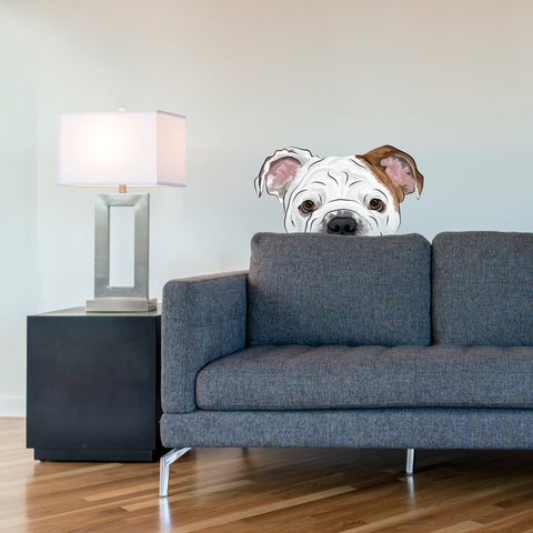 Peekaboo Bulldog Wall Decal