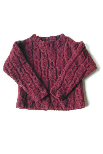 Child's Sky Tweed Cable-Rib Pullover