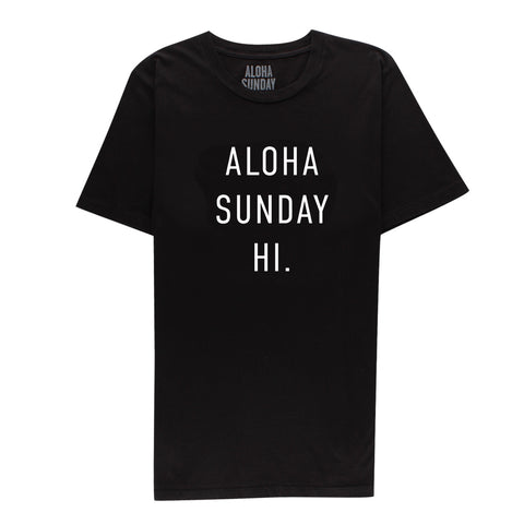 ALOHA SUNDAY AS HAWAII TEE BLACK
