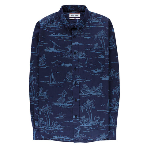 PALM BEACH LONG SLEEVE - INDIGO - ALOHA SUNDAY