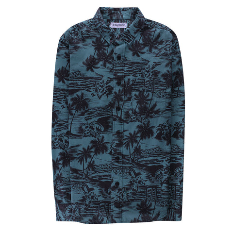 SEA LODGE BUTTON UP LONG SLEEVE - PALM GREEN