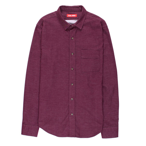 ALOHA SUNDAY OXBLOOD BRUSHED FLANNEL SHIRT