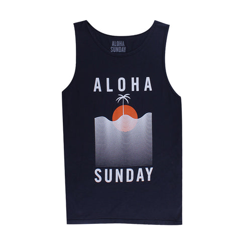 WATERLINE TANK - NAVY - ALOHA SUNDAY