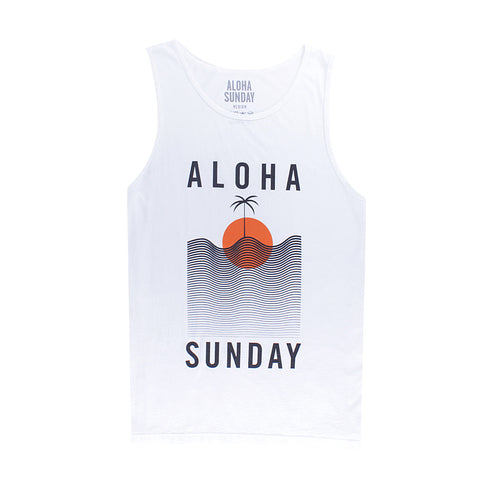 WATERLINE TANK - WHITE - ALOHA SUNDAY