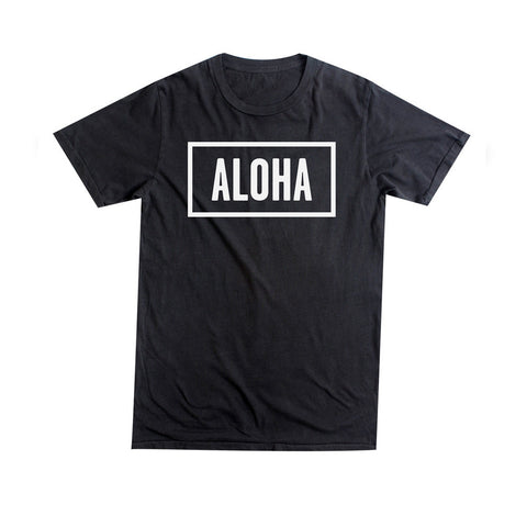 ALOHA SUNDAY BLACK T-SHIRT