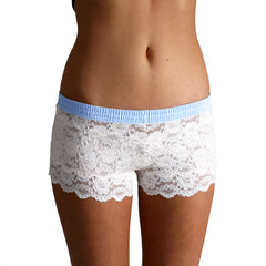 Foxers Ivory Lace Boxers with a Light Blue Dot Band - Knickers & Pearls Boutique - 2