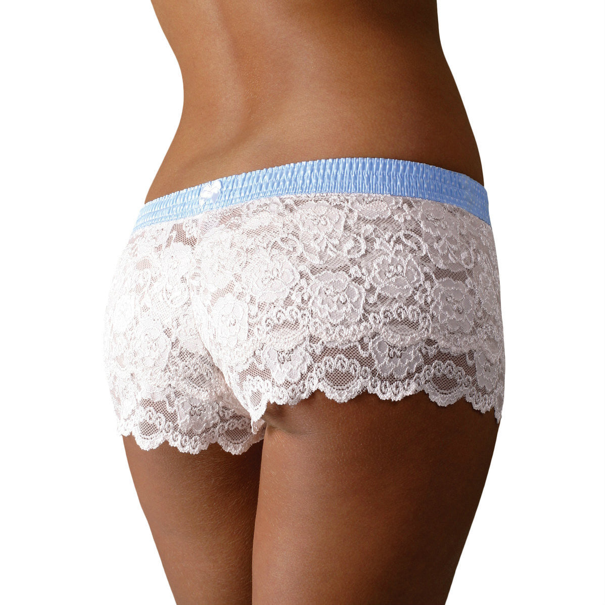 Foxers Ivory Lace Boxers with a Light Blue Dot Band - Knickers & Pearls Boutique - 1
