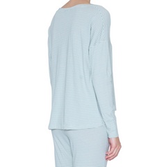 Eberjey Boxy Long Sleeve Cotton Stripe Tee
