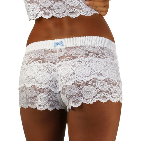 Foxers White with Blue Bow Lace Boxers