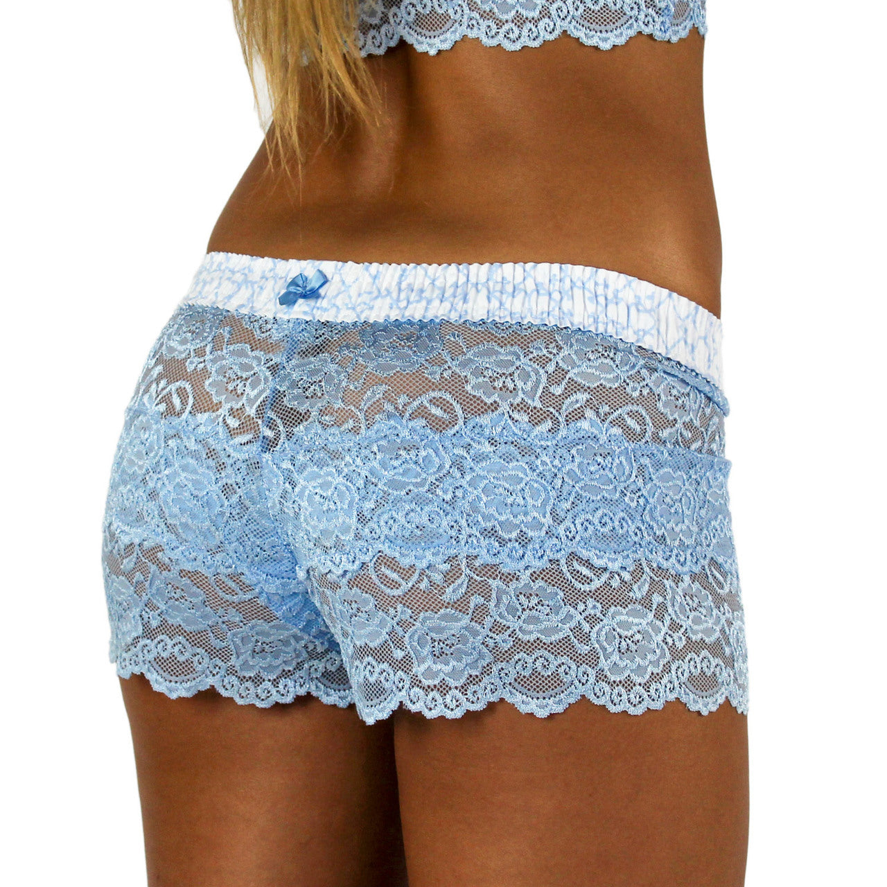 Foxers Light Blue Lace Boxers with Trellis Band