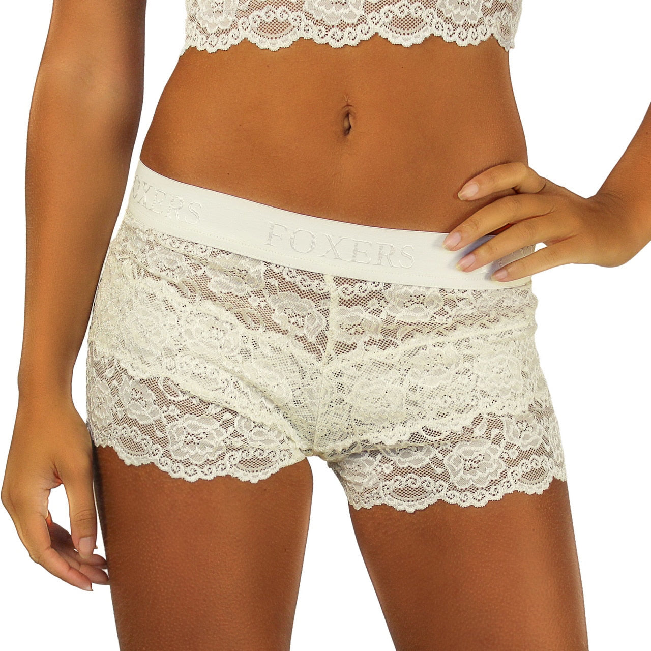 Foxers Ivory Lace Blue Bow Boxers with the signature FOXERS Band