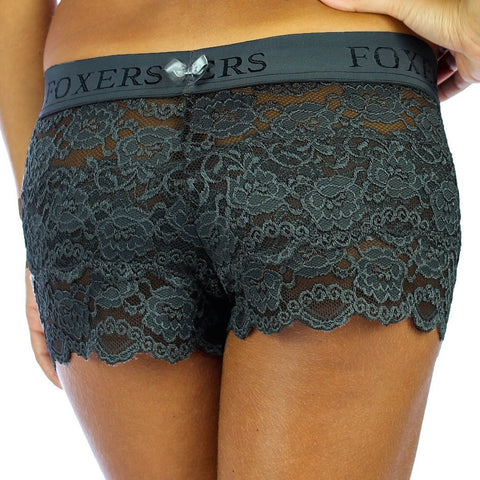 Foxers Chargray Lace Boxer with FOXERS Logo Elastic Band