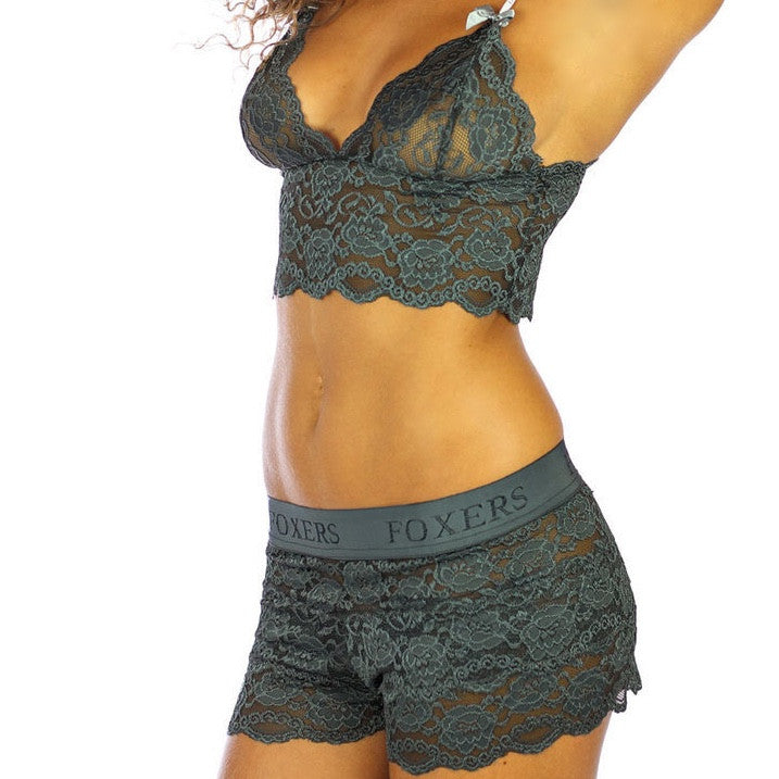 Foxers Chargray Lace Camisole with Gray Straps