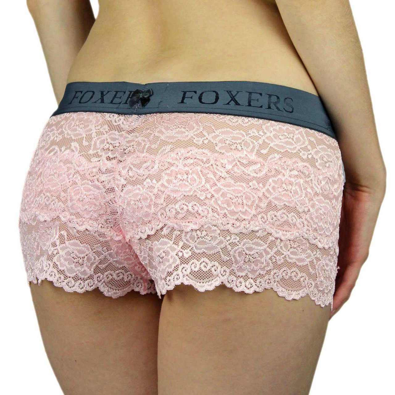 Foxers Lace Boxers with Foxers Logo Band - Knickers & Pearls Boutique - 4