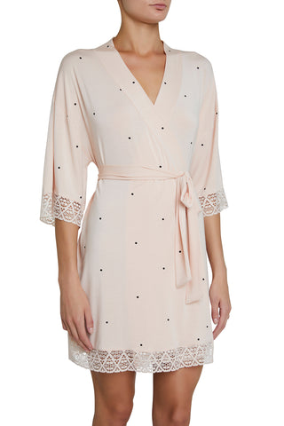 Eberjey Short Dotted Robe with Lace