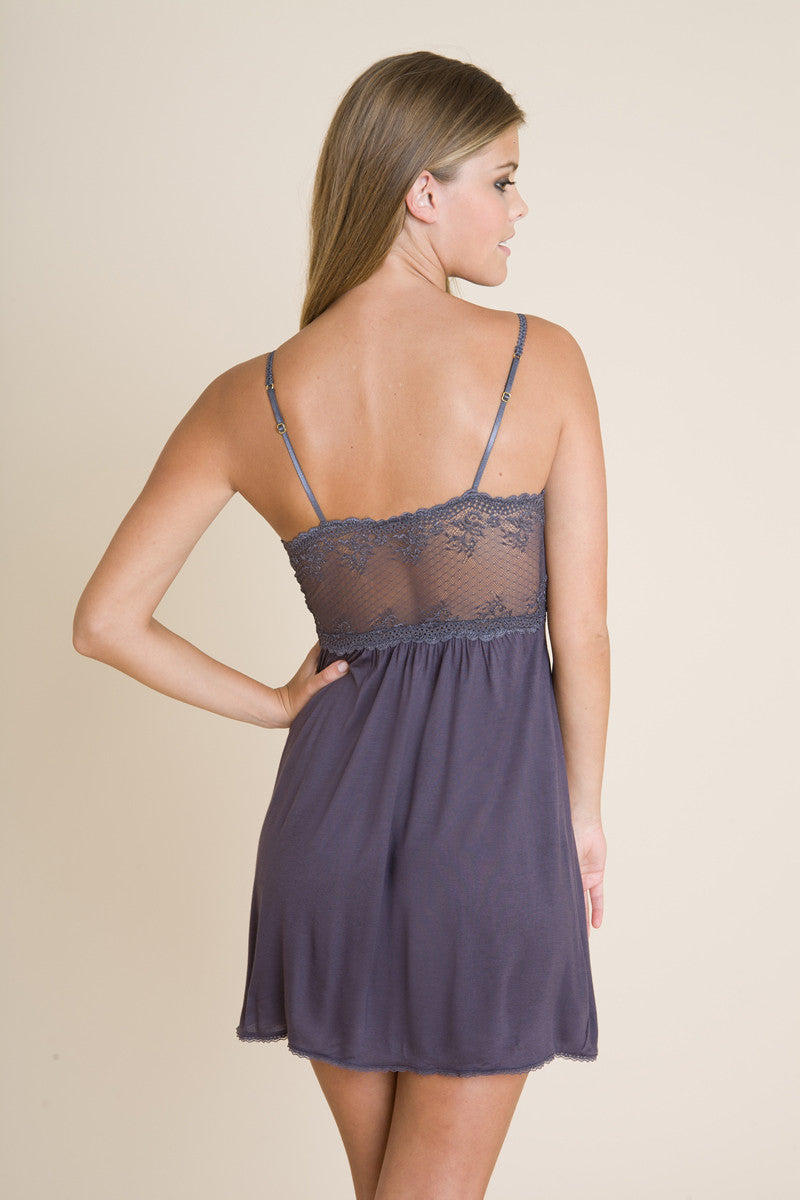Eberjey Colette Chemise in the color pebble found at Knickers & Pearls Boutique - 5