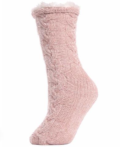 Cable Knit Chenille Plush Lined Slipper Socks