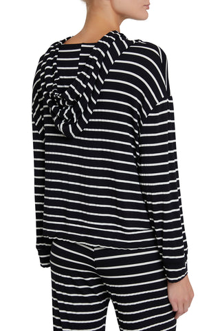 Eberjey: Lounge Stripes High-Low Hoodie