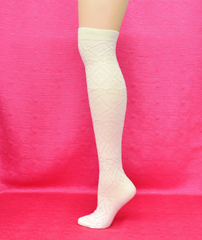 Vanea Over the Knee Ivory Pattern Thigh High Socks - Knickers & Pearls Boutique - 2