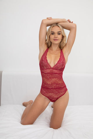 Samantha Chang's Boudoir Lace Bodysuit in a gorgeous scarlet red at Knickers and Pearls Boutique, Yountville California. knickersnpearls.com