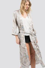Knickers & Pearls Basics Collection: Kimono Robe Soft Paisley Print