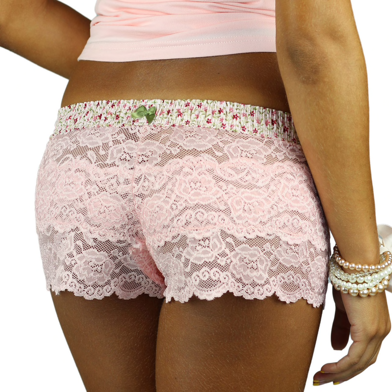 Foxers Pink Lace Boxers with Pink Posies Waistband