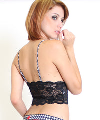 Foxers Black Lace Camisole with Hounds Tooth Adjustable Straps - Knickers & Pearls Boutique - 2