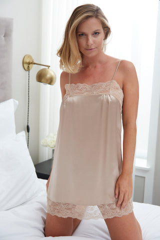Samantha Chang Silk with Leavers Lace Jasmina Chemise