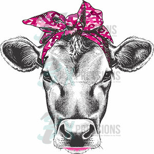 Breast Cancer Ribbon Scarf Cow
